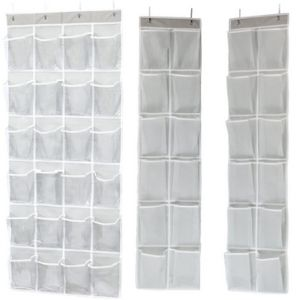 Cleverly store food using a door shoe organizer