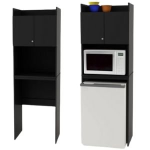 Place groceries in a mini refrigerator storage cabinet