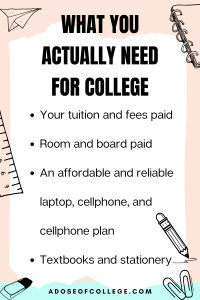 What You Actually Need For College 1 of 4