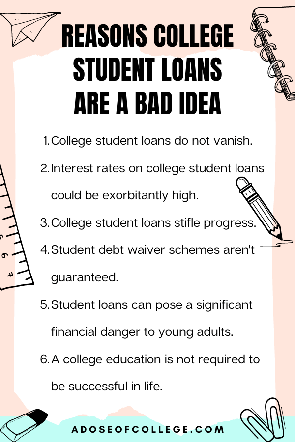 College Student Loans Are A Bad Idea 1 of 6