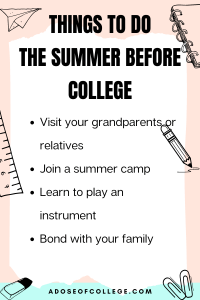 Things To Do The Summer Before College 2 of 3