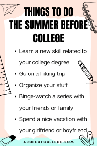 Things To Do The Summer Before College 3 of 3